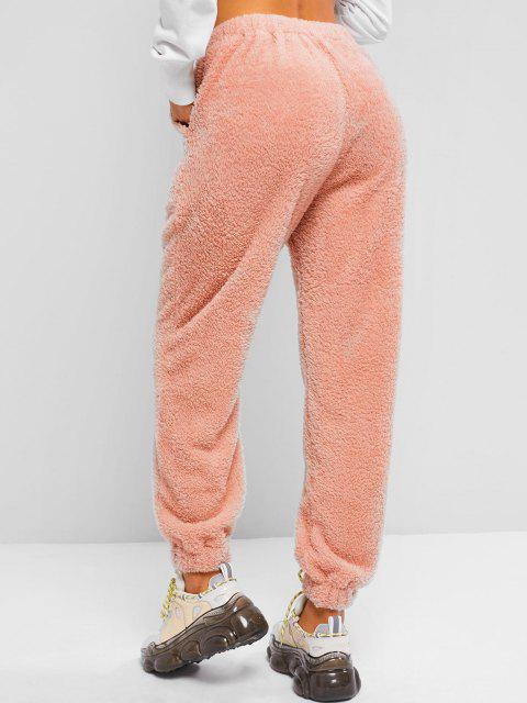 trendy High Waisted Pocket Teddy Pants - LIGHT PINK L Mobile