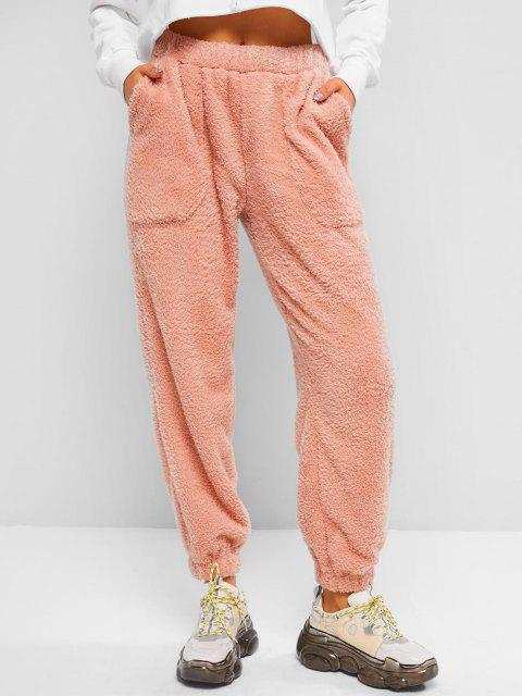 affordable High Waisted Pocket Teddy Pants - LIGHT PINK S Mobile