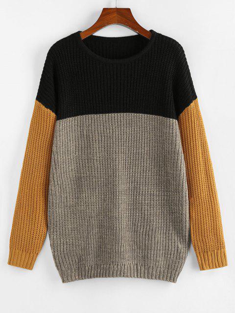 ZAFULドロップショルダー配色ゆったりセーター - マルチ M Mobile
