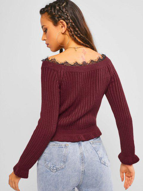 online ZAFUL Boat Neck Lace Insert Ruffle Sweater - DEEP RED L Mobile