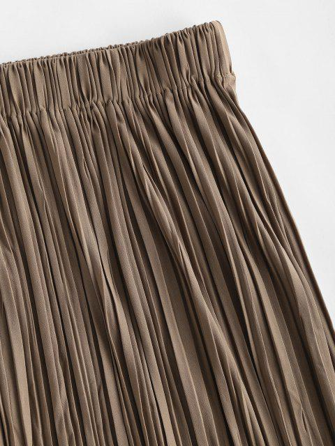 chic Pleated A Line Pull On Midi Skirt - COFFEE ONE SIZE Mobile