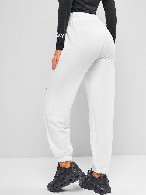 unique ZAFUL Drawstring Graphic Jogger Pants - WHITE XL Mobile