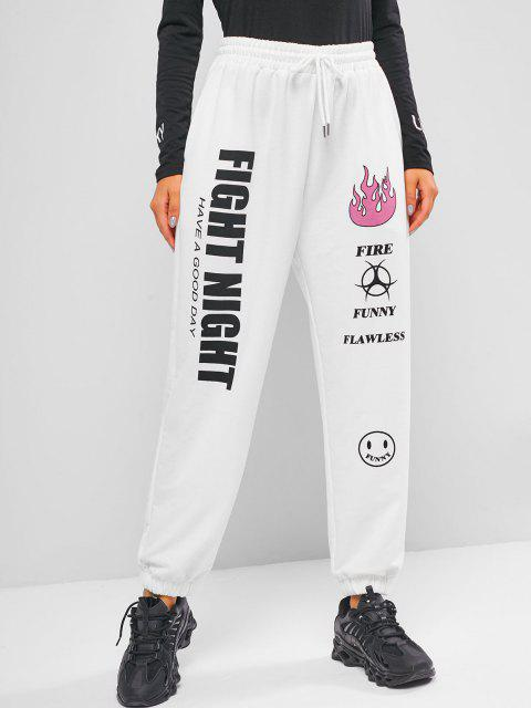 buy ZAFUL Drawstring Graphic Jogger Pants - WHITE S Mobile