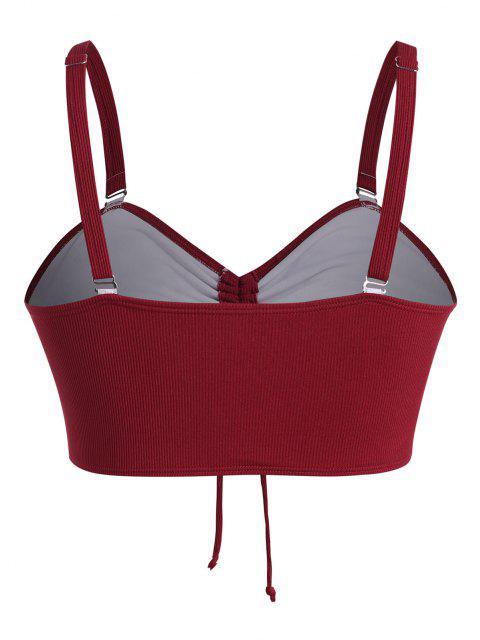 ZAFUL Übergröße Bikini-Top mit Gerippten Rüschen - Rot XL Mobile