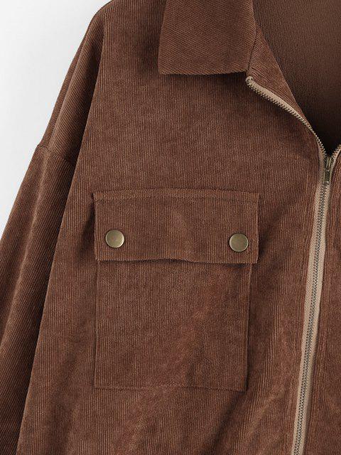 lady ZAFUL Corduroy Pocket Drop Shoulder Zipper Jacket - DEEP BROWN XL Mobile