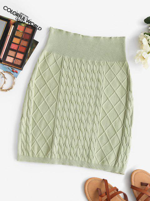 women Sheath Diamond Cable Knit Skirt - LIGHT GREEN ONE SIZE Mobile