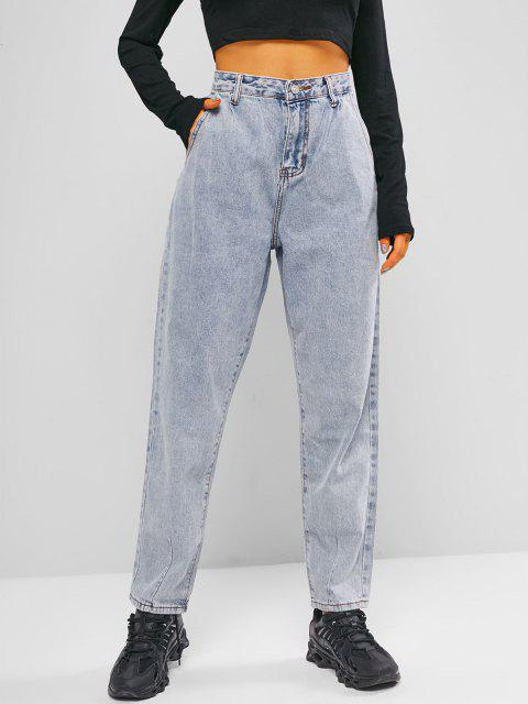 Reißverschluss Taschen Mom Jeans - Helles Blau M Mobile