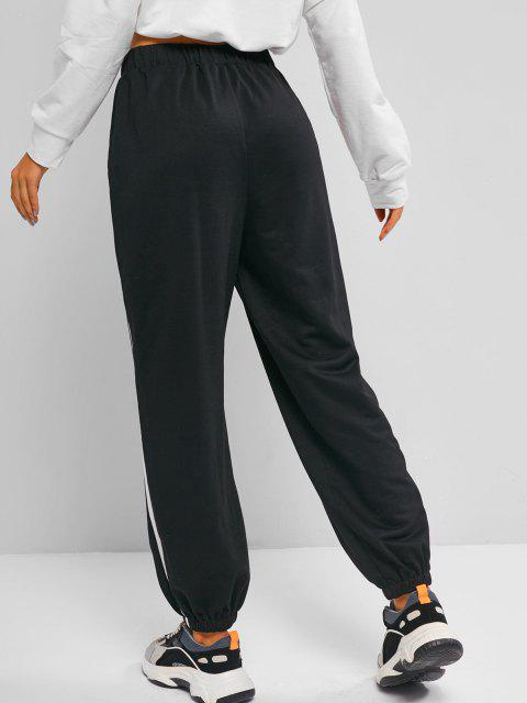 outfit ZAFUL Tiger Embroidered Oriental Contrast Tape Side Pants - BLACK S Mobile