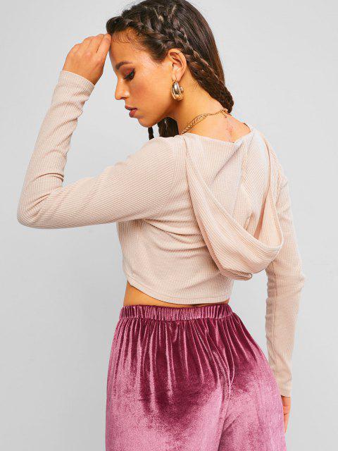 ZAFUL Camiseta Barriga de Fora Tricotada com Capuz - Rosa S Mobile