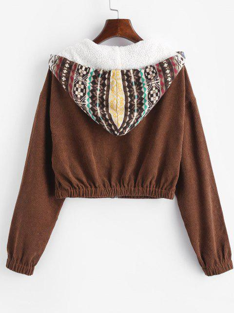 buy ZAFUL Ethnic Print Corduroy Mixed Media Pocket Jacket - COFFEE M Mobile