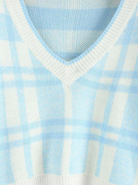ZAFUL Karierter Hängender Schulter Pullover mit V Ausschnitt - Hellblau M Mobile