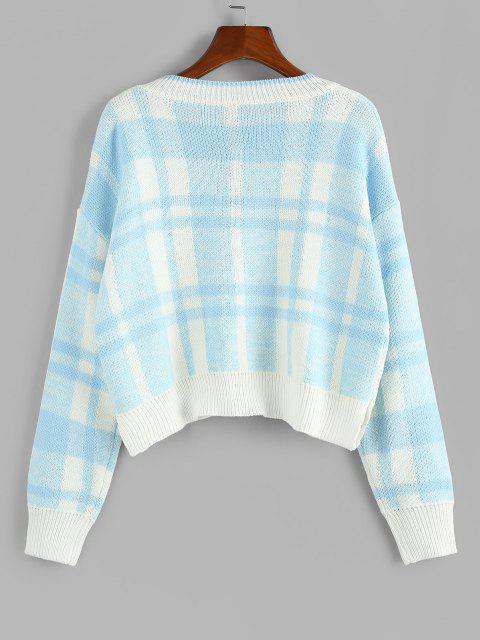 unique ZAFUL Plaid Drop Shoulder V Neck Sweater - LIGHT BLUE L Mobile