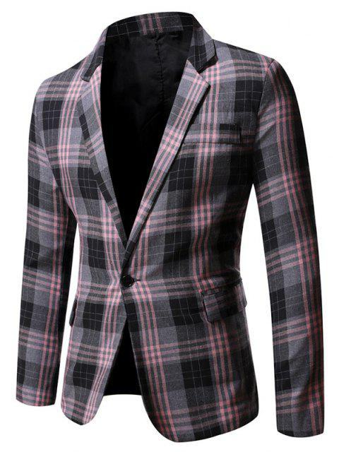 hot Single Button Plaid Pattern Blazer - GRAY M Mobile