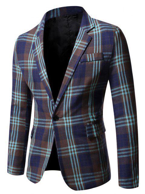 Single Button Plaid Pattern Blazer - منتصف الليل الأزرق M Mobile