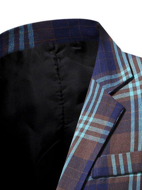 chic Single Button Plaid Pattern Blazer - MIDNIGHT BLUE M Mobile