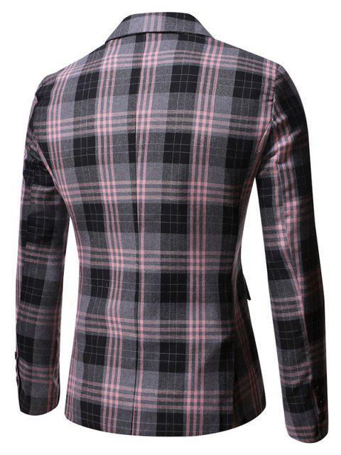 Einzelne Taste Kariert Muster Blazer - Grau L Mobile