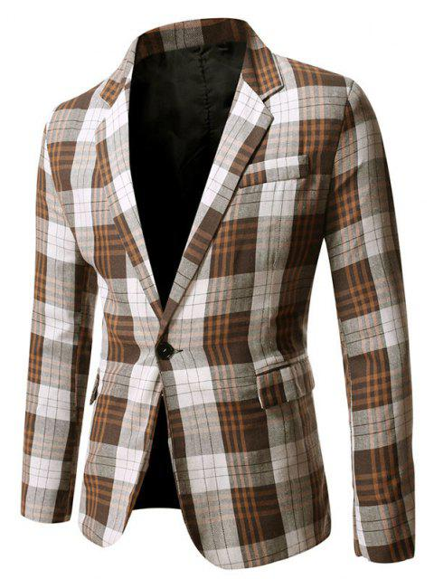 womens Single Button Plaid Pattern Blazer - COFFEE L Mobile