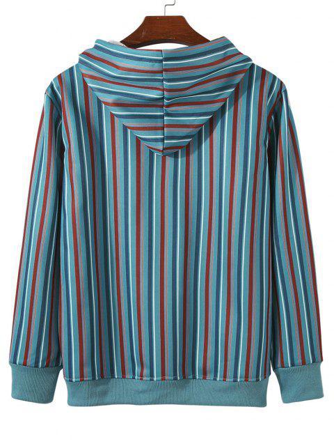 Sweat à Capuche Rayé Coloré avec Poche en Avant à Doublure en Laine - Turquoise XL Mobile
