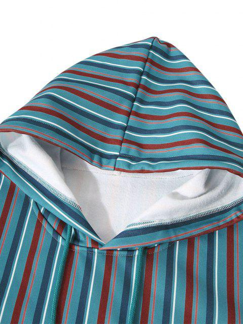lady Fleece Lined Front Pocket Colorful Striped Hoody - TURQUOISE XL Mobile