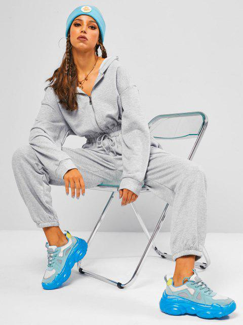 lady Half Zip Drawstring Waisted Hooded Jogger Jumpsuit - LIGHT GRAY M Mobile