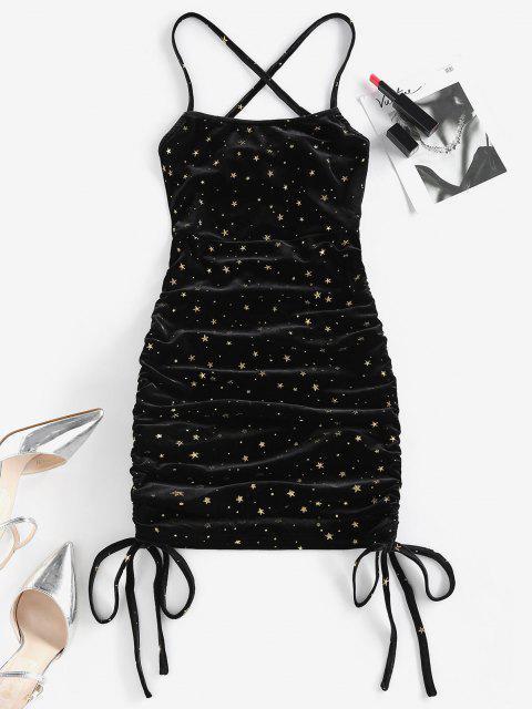affordable ZAFUL Metallic Star Velvet Lace Up Cinched Dress - BLACK S Mobile