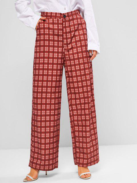 online High Waisted Pockets Plaid Wide Leg Pants - DEEP RED M Mobile