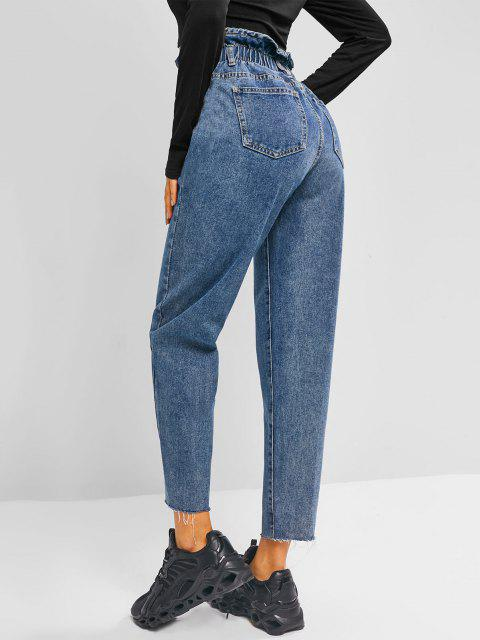 shops Frayed Hem Tapered Paperbag Jeans - JEANS BLUE XL Mobile