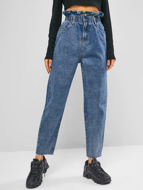 fashion Frayed Hem Tapered Paperbag Jeans - JEANS BLUE S Mobile
