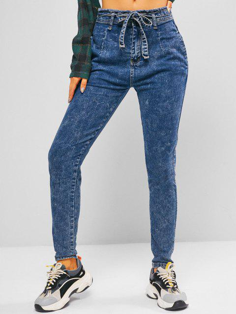 new Frayed Tie Waist Skinny Jeans - OCEAN BLUE S Mobile