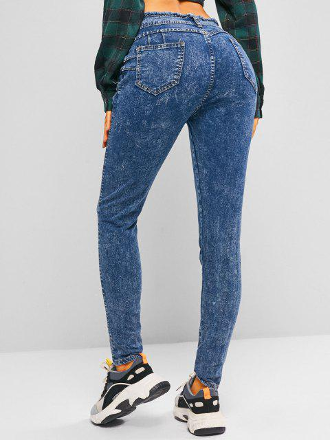 new Frayed Tie Waist Skinny Jeans - OCEAN BLUE L Mobile