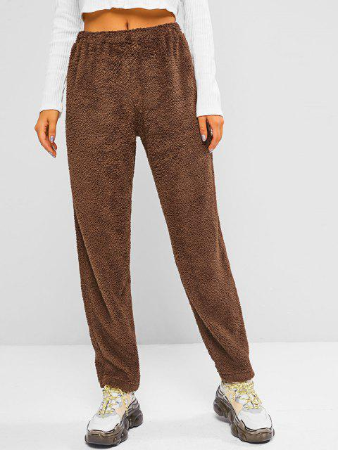 latest ZAFUL High Rise Fluffy Teddy Pants - BROWN BEAR XL Mobile