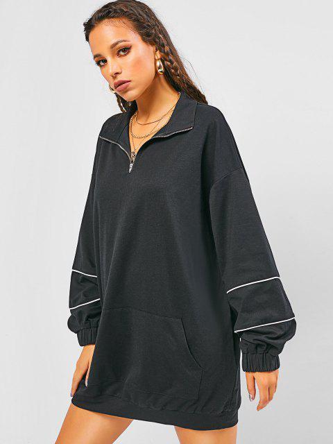 unique Oversized Half Zipper Lantern Sleeve Sweatshirt Dress - BLACK S Mobile