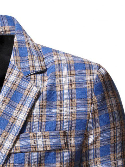 buy Plaid Side Slit Single Button Blazer - CORNFLOWER BLUE S Mobile