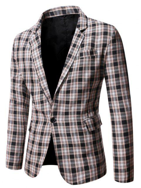 best Plaid Side Slit Single Button Blazer - BLACK M Mobile