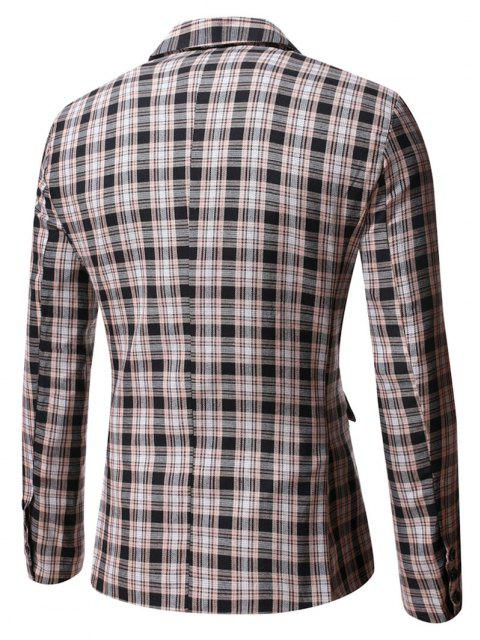 new Plaid Side Slit Single Button Blazer - BLACK L Mobile