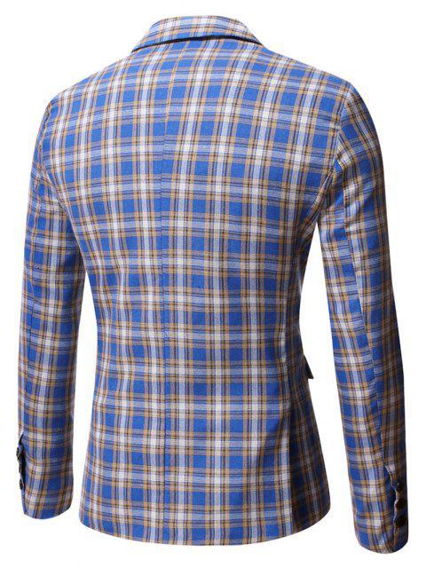 Blazer à Carreaux Fente Latérale avec Simple Boutonnage - Bleu Bleuet 2XL Mobile