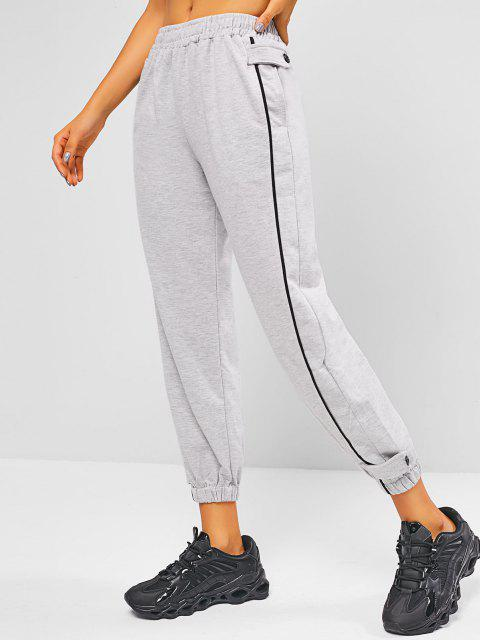 shop High Waisted Buttoned Tab Jogger Sweatpants - LIGHT GRAY M Mobile