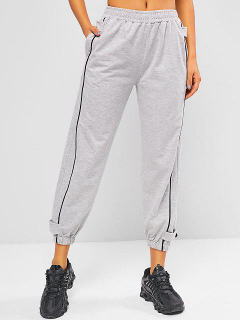 Pantaloni da Jogging Sportivi a Vita Alta con Bottoni - Grigio Chiaro M Mobile