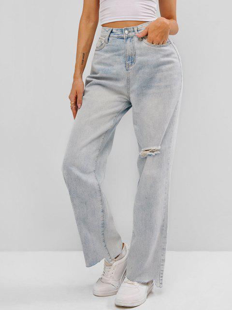 outfits Ripped Raw Hem Straight Leg Grunge Jeans - BLUE M Mobile