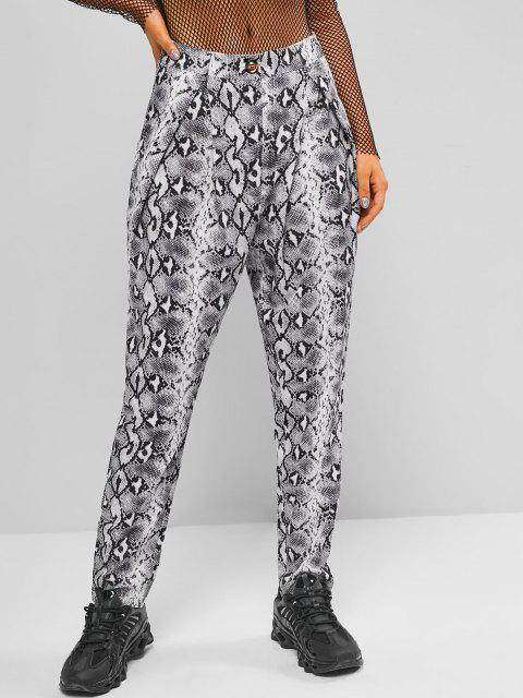 unique High Waisted Snake Print Tapered Pants - BLACK S Mobile