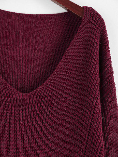 shops ZAFUL Plunge Drop Shoulder Lantern Sleeve Sweater - DEEP RED M Mobile