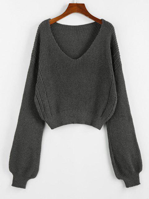 chic ZAFUL Plunge Drop Shoulder Lantern Sleeve Sweater - SMOKEY GRAY M Mobile