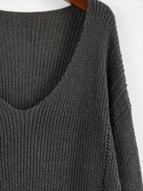 fancy ZAFUL Plunge Drop Shoulder Lantern Sleeve Sweater - SMOKEY GRAY L Mobile