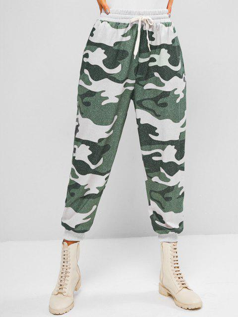 fancy ZAFUL Slant Pockets Camouflage Jogger Sweatpants - LIGHT GREEN L Mobile