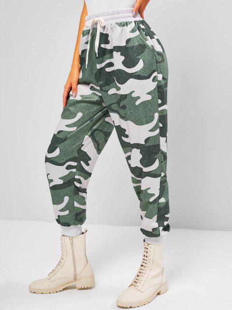 womens ZAFUL Slant Pockets Camouflage Jogger Sweatpants - LIGHT GREEN M Mobile