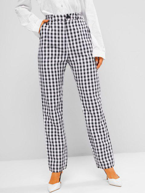 ladies ZAFUL Gingham Pocket Straight Pants - BLACK L Mobile