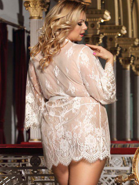 womens Plus Size Lace Eyelash Sheer Sexy Robe Set - WHITE M Mobile