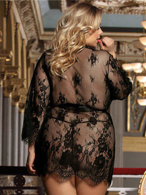 ladies Plus Size Lace Eyelash Sheer Sexy Robe Set - BLACK M Mobile