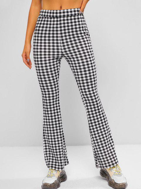 sale ZAFUL High Rise Plaid Bell Bottom Pants - BLACK M Mobile