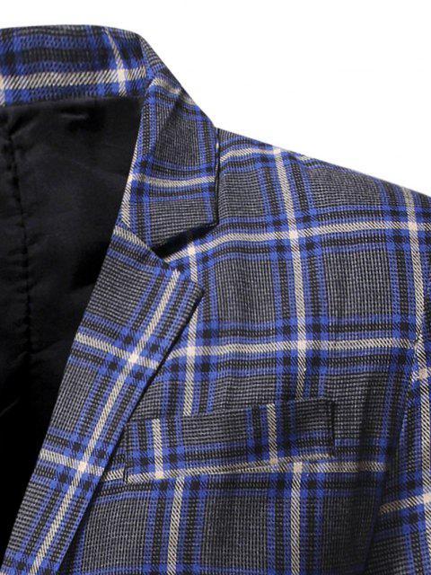 Blazer à Carreaux Fendu avec Simple Boutonnage - Bleu Myrtille L Mobile